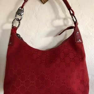 VINTAGE GUCCI AUTHENTIC RED CANVAS FABRIC HOBO BAG